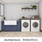 3d rendering washing machine in ... | Shutterstock . vector #542619211