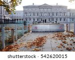 Small photo of DUBLIN, IRELAND -1 NOV 2016- The Houses of the Oireachtas building in Dublin. It serves as the National Parliament of Ireland.