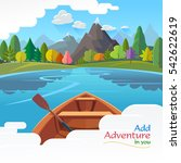 lonely boat moving in the... | Shutterstock .eps vector #542622619