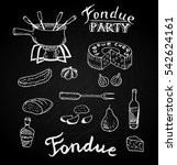 swiss traditional fondue... | Shutterstock .eps vector #542624161