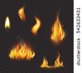 set of realistic flame tongues... | Shutterstock .eps vector #542633431