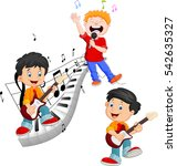 cartoon happy kids singing and...   Shutterstock .eps vector #542635327
