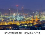 oil refinery night lights with... | Shutterstock . vector #542637745
