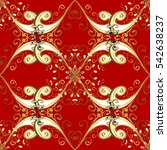 seamless vintage pattern on red ... | Shutterstock . vector #542638237