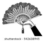 female hand with open fan.... | Shutterstock . vector #542638945