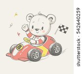 cute little bear driving a car... | Shutterstock .eps vector #542640259