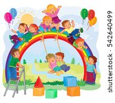 carefree young children playing ... | Shutterstock .eps vector #542640499