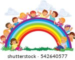 carefree young children and... | Shutterstock .eps vector #542640577