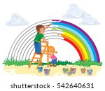 carefree young children paint a ... | Shutterstock .eps vector #542640631