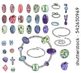 set with different beads ... | Shutterstock .eps vector #542650969