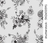seamless pattern with flowers....   Shutterstock .eps vector #542653591