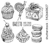 hand drawn dessert collection.... | Shutterstock .eps vector #542660827