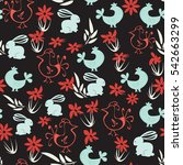 easter seamless pattern. floral ... | Shutterstock .eps vector #542663299