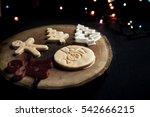 typographic christmas cookies...   Shutterstock . vector #542666215