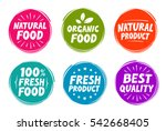 Vector set colorful labels for food, nutrition. Collection icons | Shutterstock vector #542668405