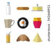 set of simple breakfast food... | Shutterstock .eps vector #542668921