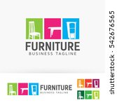 furniture  interior  shop ... | Shutterstock .eps vector #542676565