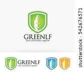 green leaf finance  shield ...   Shutterstock .eps vector #542676571