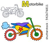 motorbike. coloring book page.... | Shutterstock .eps vector #542676811