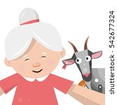 grandmother takes a selfie with ... | Shutterstock .eps vector #542677324