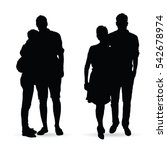 couple silhouette set in black... | Shutterstock .eps vector #542678974