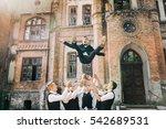 handsome groom with groomsmen | Shutterstock . vector #542689531