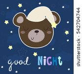 good night vector card with... | Shutterstock .eps vector #542704744