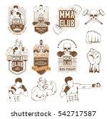 set for mma. silhouette  logo ... | Shutterstock .eps vector #542717587
