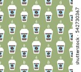 coffee seamless pattern  vector ... | Shutterstock .eps vector #542730367