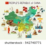 map of china and travel icons... | Shutterstock .eps vector #542740771