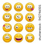 funny cartoon yellow faces... | Shutterstock .eps vector #542746501