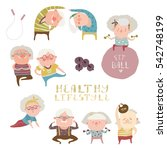 sey of elderly people doing... | Shutterstock .eps vector #542748199