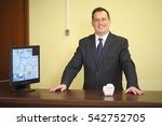 concierge behind the counter at ... | Shutterstock . vector #542752705