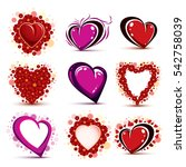3d red and pink stylized hearts ... | Shutterstock . vector #542758039