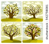art green trees with swing on... | Shutterstock . vector #542758081