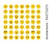 set of emoticons. cute emoji... | Shutterstock .eps vector #542772271