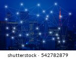 capital city and glow line as...   Shutterstock . vector #542782879