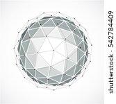 3d digital wireframe spherical... | Shutterstock . vector #542784409