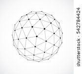 3d form made with black lines ... | Shutterstock . vector #542784424