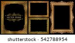 set of gold photo frames with... | Shutterstock .eps vector #542788954