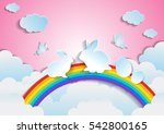 easter with rainbow and sky... | Shutterstock .eps vector #542800165