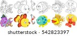cartoon underwater animals set. ... | Shutterstock .eps vector #542823397