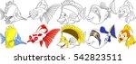 cartoon ocean animals set.... | Shutterstock .eps vector #542823511