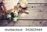 sea salt  towels  aroma oil in ...   Shutterstock . vector #542825464