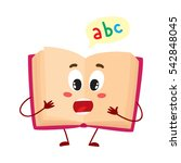 funny open abc book character...   Shutterstock .eps vector #542848045