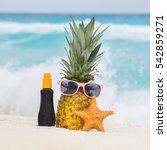 pineapple fruit in sunglasses ... | Shutterstock . vector #542859271