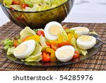 fresh vegetable salad with eggs