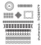 vector set of line art frames ... | Shutterstock .eps vector #542889979