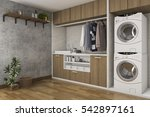 Stock photo  d rendering wood laundry room with concrete wall 542897161
