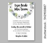 anemone wedding invitation card ... | Shutterstock .eps vector #542903887